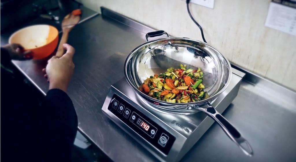 Placa de inducción para wok y sartén wok-inoxamedida